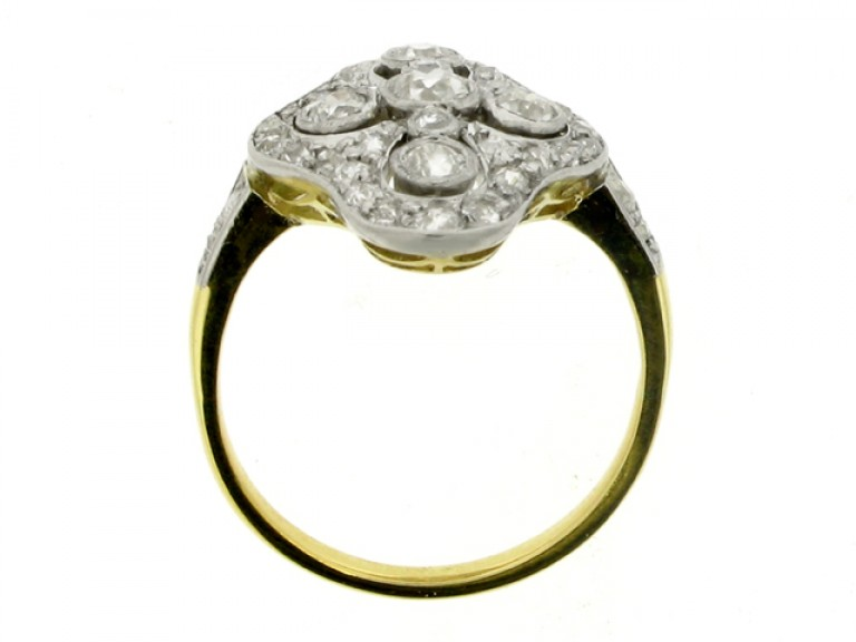 back view Edwardian quatrefoil diamond cluster ring, circa 1910.