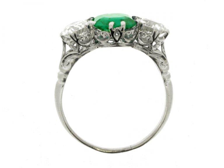back view Edwardian old mine emerald and diamond three stone ring, circa 1910.