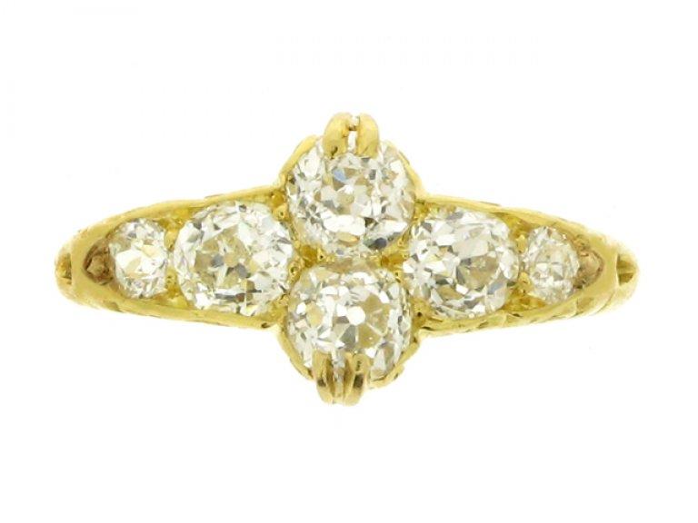 front view Antique six stone diamond ring, English, circa 1891.