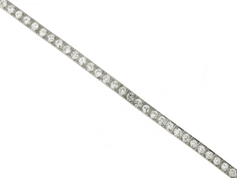 front view Diamond set engraved line bracelet, circa 1935.