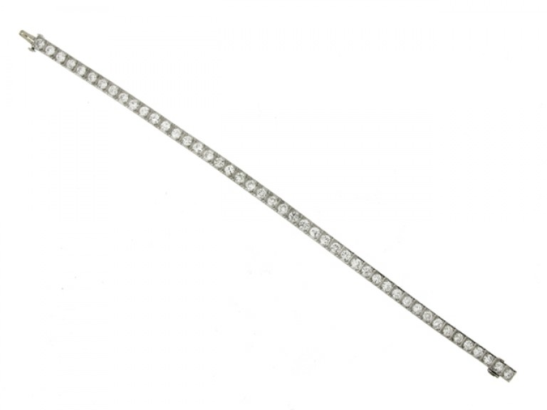 full view Diamond set engraved line bracelet, circa 1935.