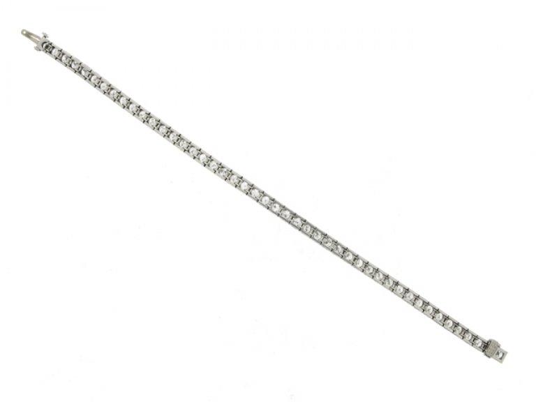 back view Diamond set engraved line bracelet, circa 1935.
