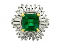 front view boucheron emerald diamond ring hatton garden berganza