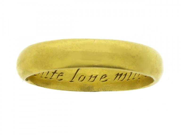 Gold posy ring, 'If Grace unite love will be right', 18th century.