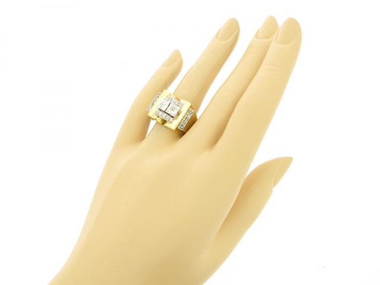 hand view Diamond cocktail ring, French, circa 1940.