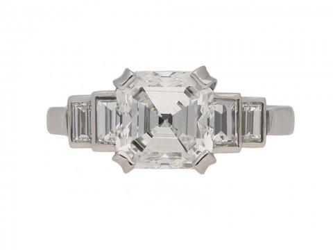 Art Deco asscher diamond ring berganza hatton garden