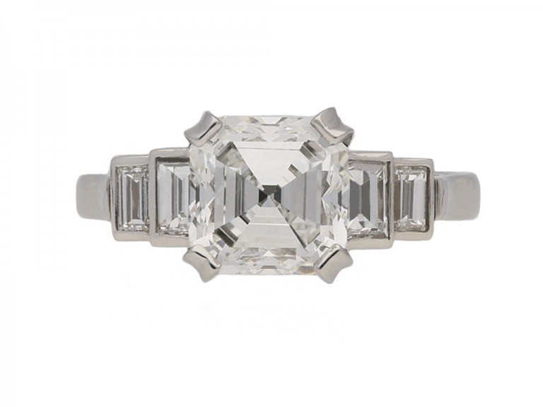 Art Deco asscher diamond ring berganza hatton garden