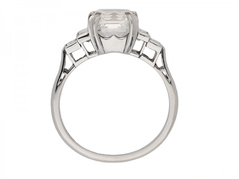 front Art Deco asscher diamond ring berganza hatton garden