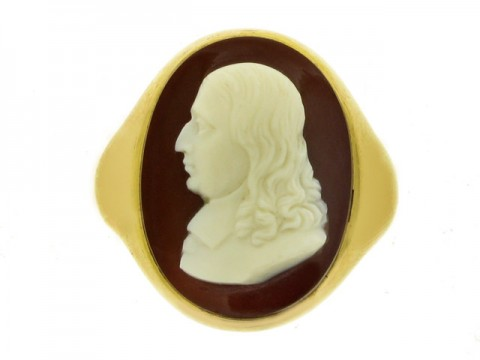 front view Antique sardonyx cameo of John Milton, English, circa 1901.