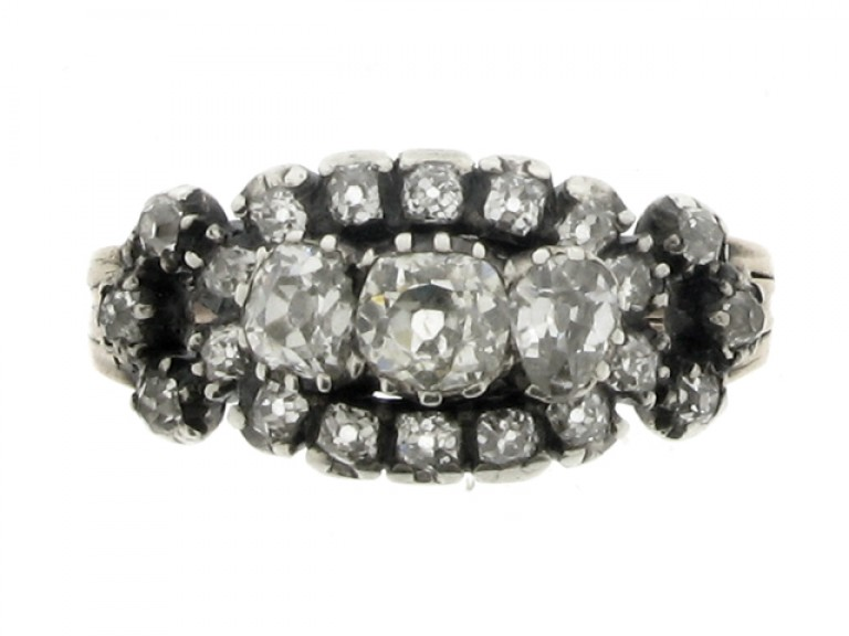 front view Antique old mine diamond cluster ring, English, circa 1850.