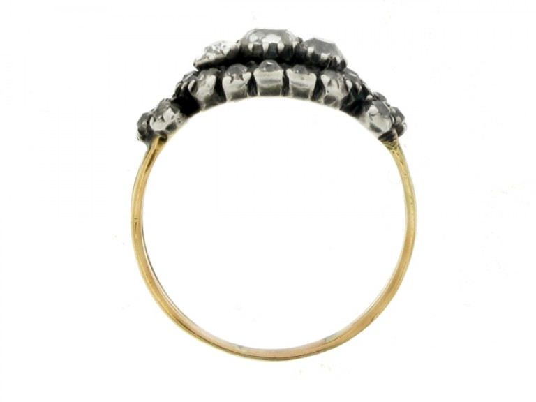back view Antique old mine diamond cluster ring, English, circa 1850.