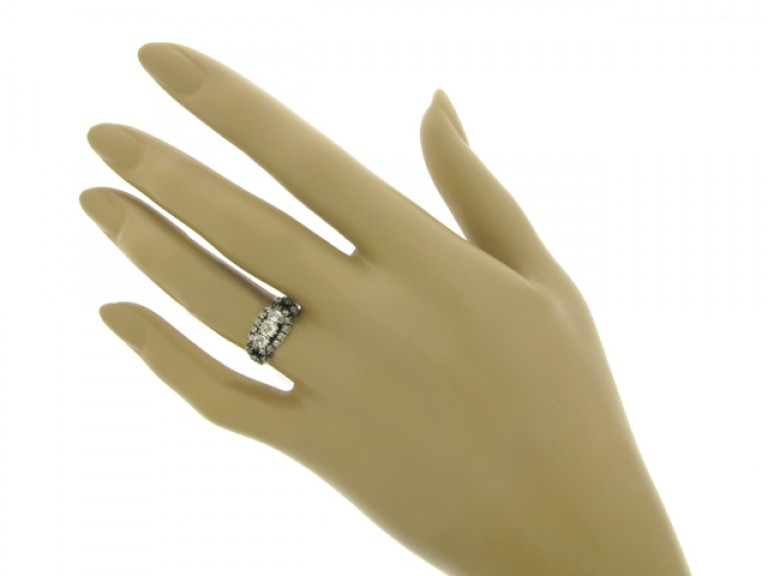 hand view Antique old mine diamond cluster ring, English, circa 1850.