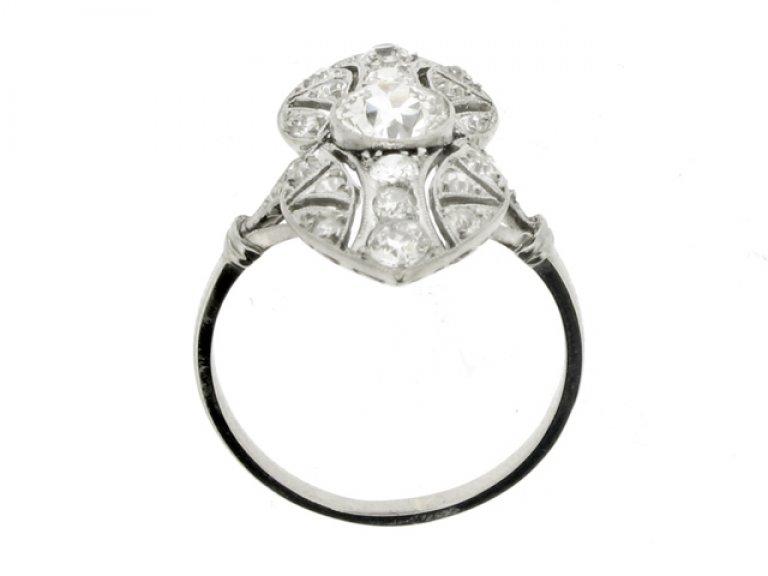 back view Belle Époque diamond ring, French, circa 1910.