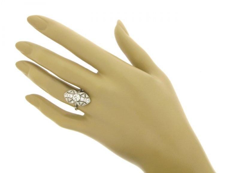 hand view Belle Époque diamond ring, French, circa 1910.