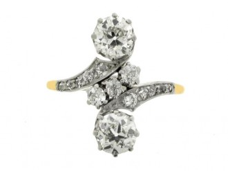 front view Antique diamond crossover ring, circa 1900.