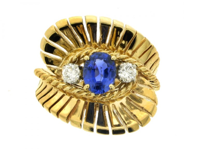 front view Tiffany & Co. sapphire and diamond three stone ring, American, circa 1955.