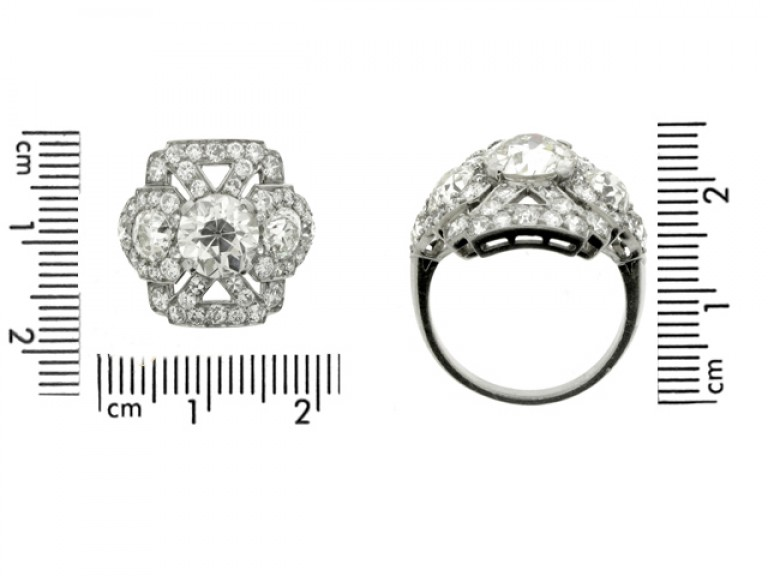 size view Ornate diamond cluster ring, circa 1920.