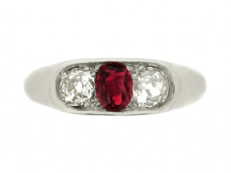 front view Art Deco three stone ruby and diamond ring, circa 1935