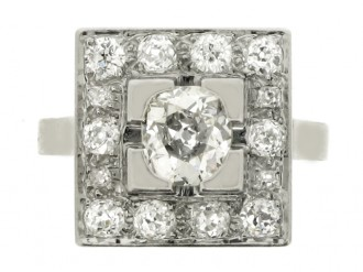 front view Art Deco square diamond coronet cluster ring, French, circa 1930.