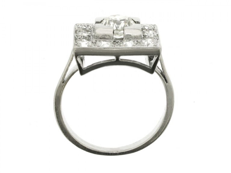 back view Art Deco square diamond coronet cluster ring, French, circa 1930.