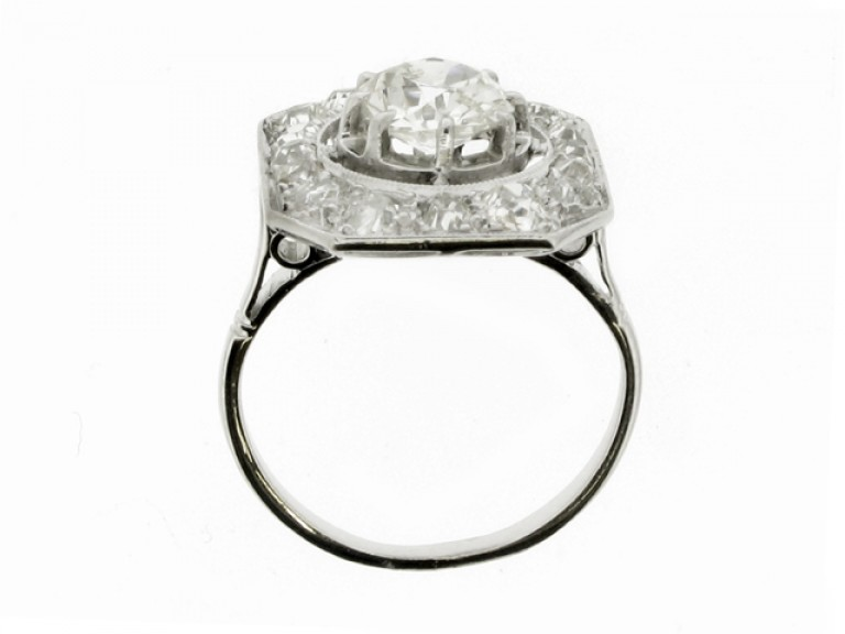 back view Octagonal diamond coronet cluster ring, French, circa 1920.