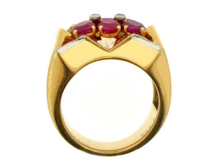 back view Boucheron Paris ruby and diamond cocktail ring, France, circa 1945.