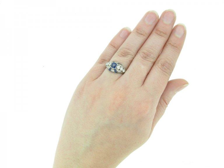 front art deco diamond sapphire ring hatton garden berganza