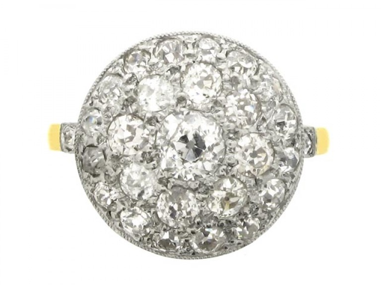 front view Diamond coronet cluster ring, circa 1910.