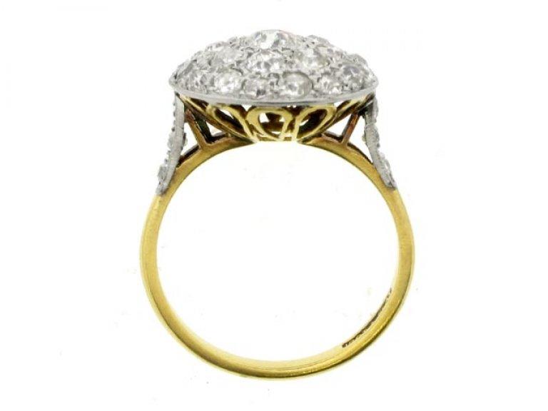 back view Diamond coronet cluster ring, circa 1910.