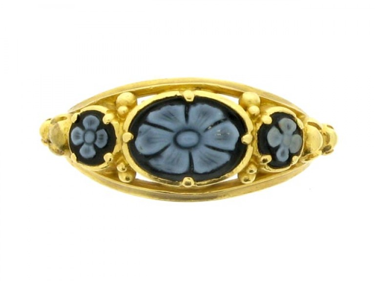 front view Georgian onyx memorial ring, circa 1828.