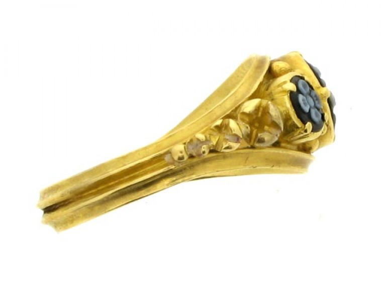 side view Georgian onyx memorial ring, circa 1828.