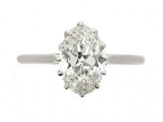 Solitaire old mine diamond engagement ring, circa 1920.