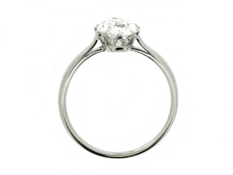 back view Solitaire old mine diamond engagement ring, circa 1920.