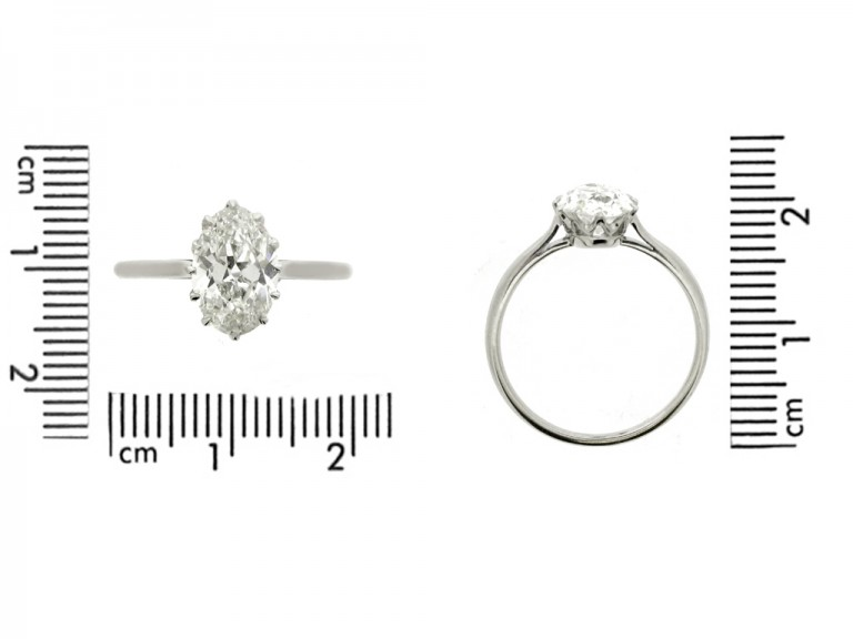size view Solitaire old mine diamond engagement ring, circa 1920.