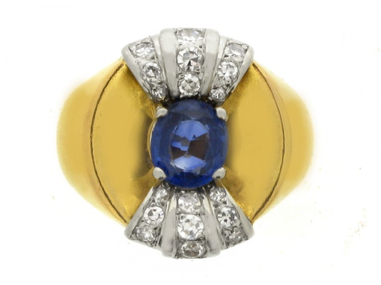 front view Sapphire and diamond cocktail ring, French, circa 1945.