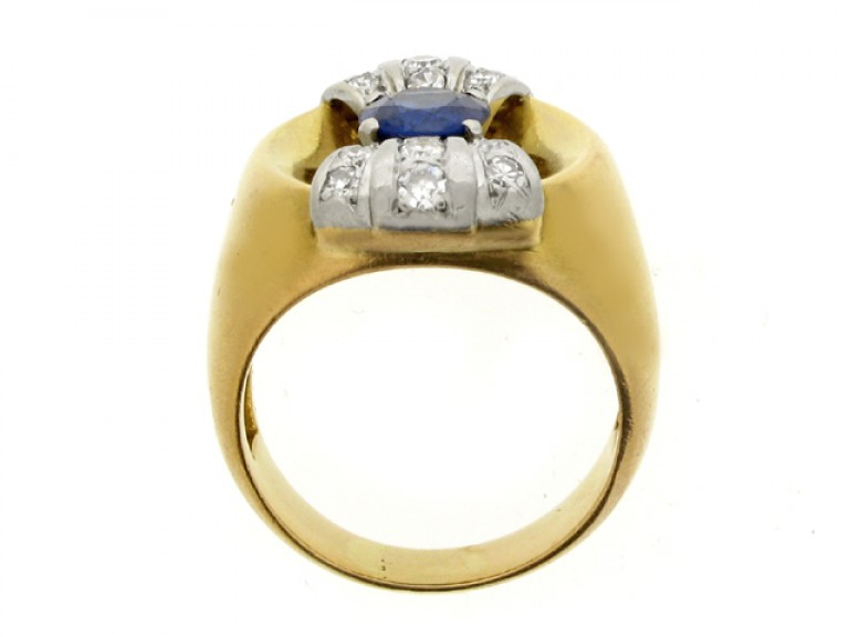 back view Sapphire and diamond cocktail ring, French, circa 1945.