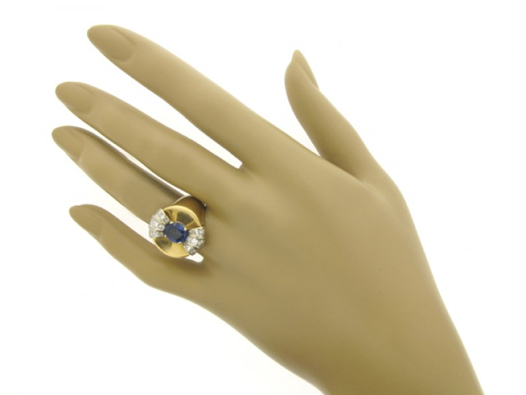 hand view Sapphire and diamond cocktail ring, French, circa 1945.