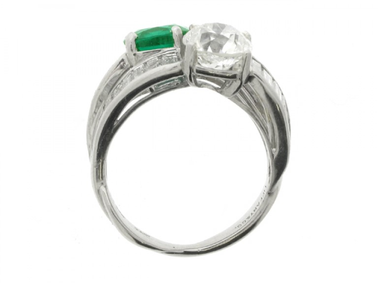 back veiw Tiffany & Co. emerald and diamond crossover ring, American, circa 1930.