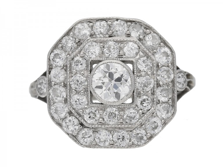 front view Art deco diamond cluster ring hatton garden berganza