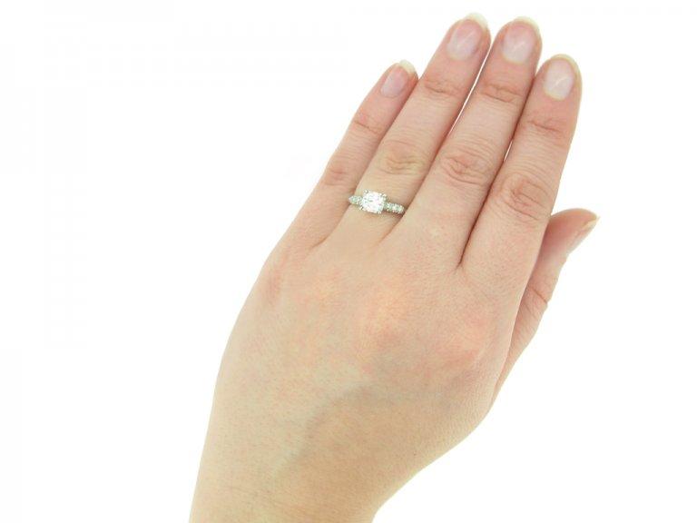 hand view vintage diamond engagementl ring berganza hatton garden