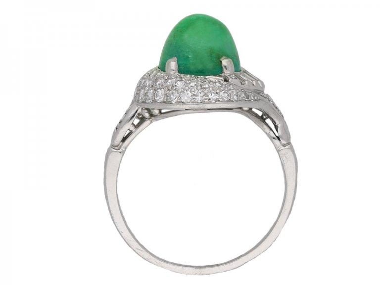 Cabochon Colombian emerald diamond ring berganza hatton garden