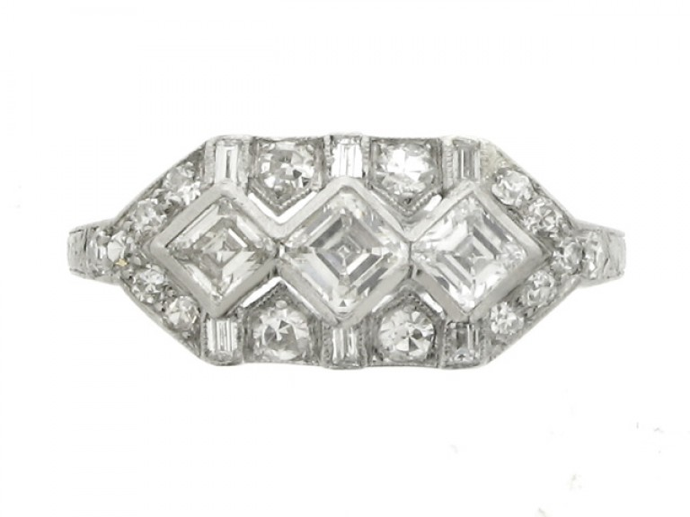 front view Ornate diamond ring, circa 1930.