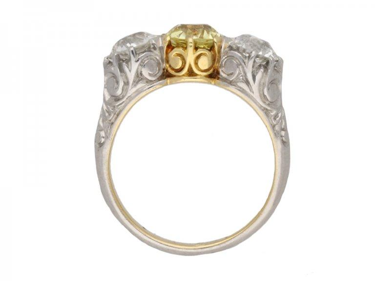 front antique yellow diamond ring hatton garden berganza