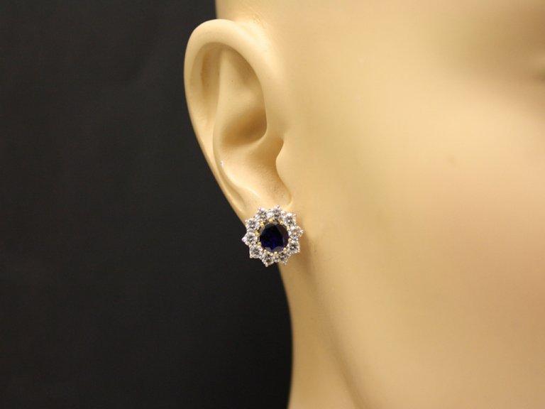 head view antique diamond sapphire earrings berganza hatton garden