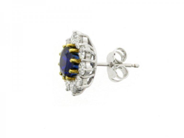 side view antique diamond sapphire earrings berganza hatton garden
