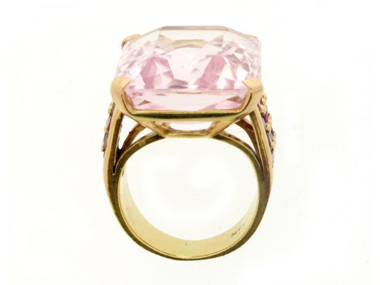 back view Kunzite and ruby cocktail ring, circa 1940.