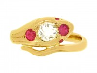 front view Antique ruby and diamond snake ring, circa 1900.
