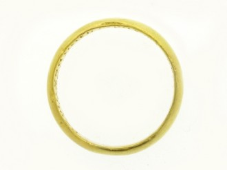 Gold posy ring, 'Seing god hath made of two one * Let nothing part but deth alone', 17th century.