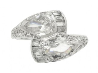 front view Diamond cross over ring circa 1940