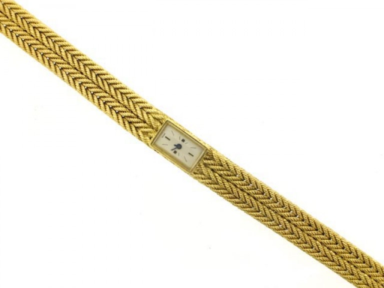 front view Yellow gold wrist watch by Hermes circa 1950